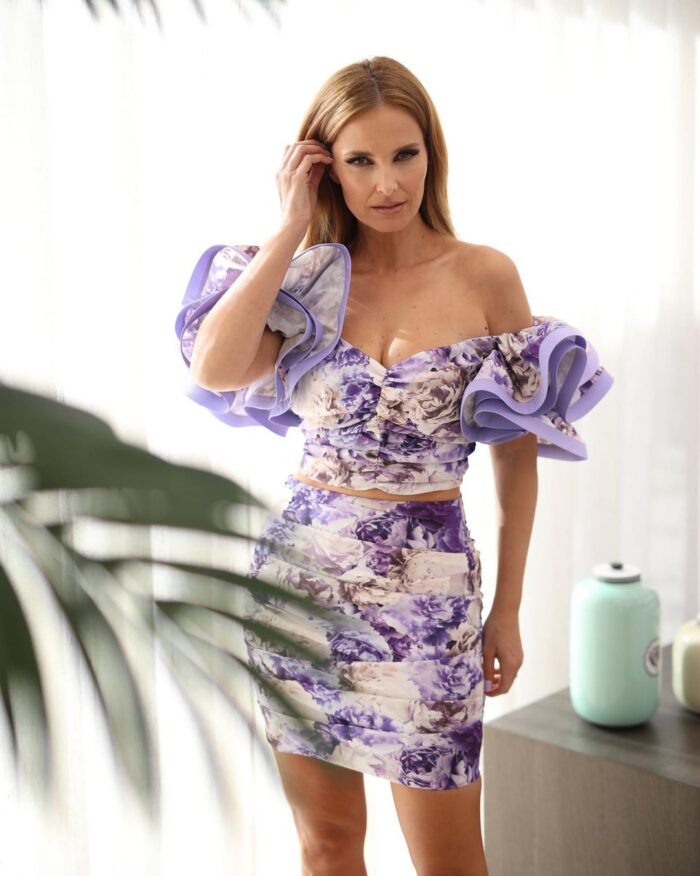 Vestido de duas peças com top curto e mangas balão Elisabetta Franchi