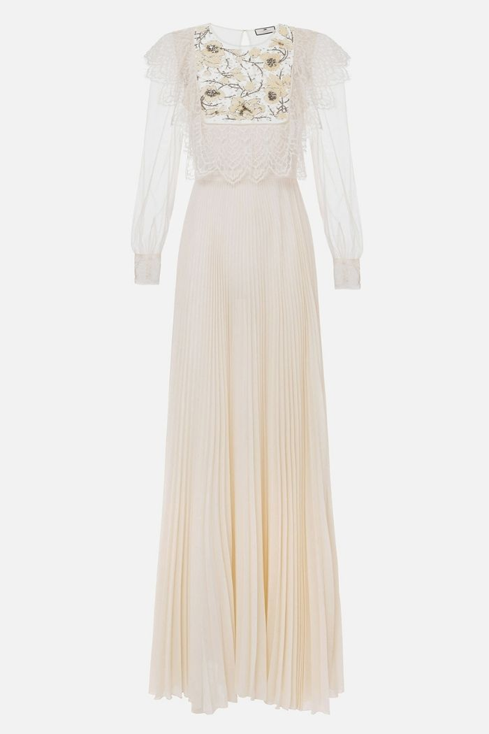 vestido branco com pedraria no peito da marca Elisabetta Franchi