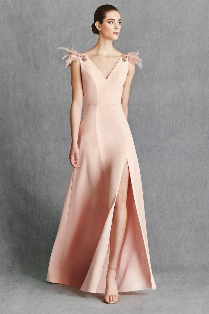 vestido comprido crepe rosa claro decote em V