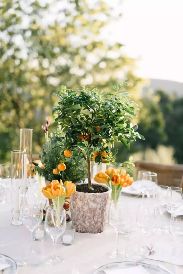 centros de mesa de casamento que são árvores